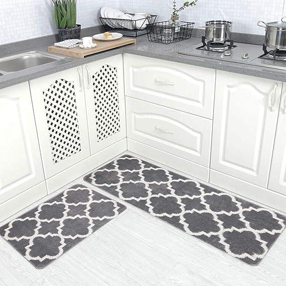 HEBE Kitchen Rug Set Non Slip Moroccan Trellis Kitchen Rug and Mat Set Washable Throw Rug Carpet Mat Runner for Entryway Kitchen Bedroom Grey(18