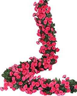 Lannu 2 Pack Artificial Rose Vine Flowers Fake Garland Ivy Flowers Silk Hanging Garland Plants for Home Wedding Party Decorations, (HOT Pink) (PINK2)