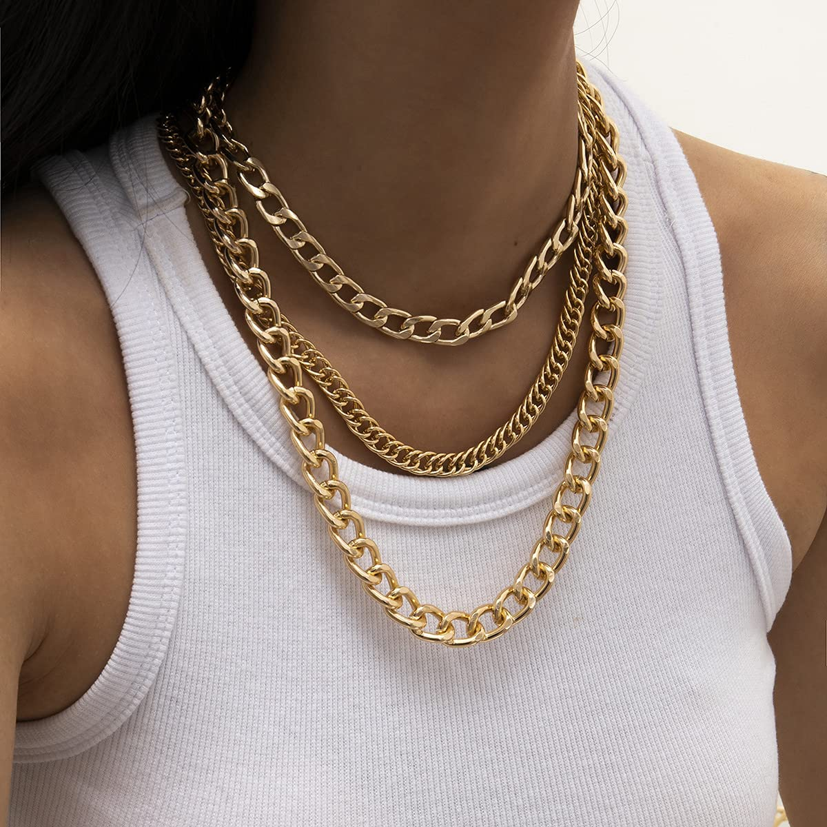Cuban Chunky Chain Layered Necklaces Bracelets Set for Women, Gold Plated Thick Link Chain Choker Necklace Cute Dainty Round Circle Bracelet kit for Women Girls Handmade Jewelry Birthday Gifts