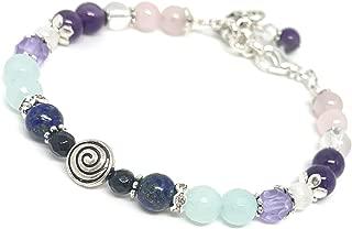 Swirl Fertility and Pregnancy Bracelet Featuring Natural Gemstones Rose Quartz, Amethyst, Chrysocolla, Black Onyx, Moonstone, Amazonite