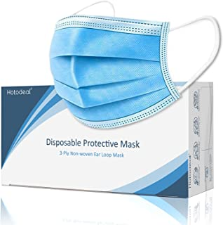 50 Pcs Disposable Face Mask, Breathable Face Masks 3 Ply Protection for Blocking Dust Air Pollution, Daily Protective facemask Bulk for Adult, Men, Women, Indoor, Outdoor Use
