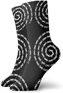 QUEMIN, Calcetines en espiral con cadena de bicicleta Calcetines cortos deportivos clásicos de ocio 30cm / 11.8 pulgadas Adecuado para hombres Mujeres Calcetines de algodón casuales Calcetines deportivos Calc