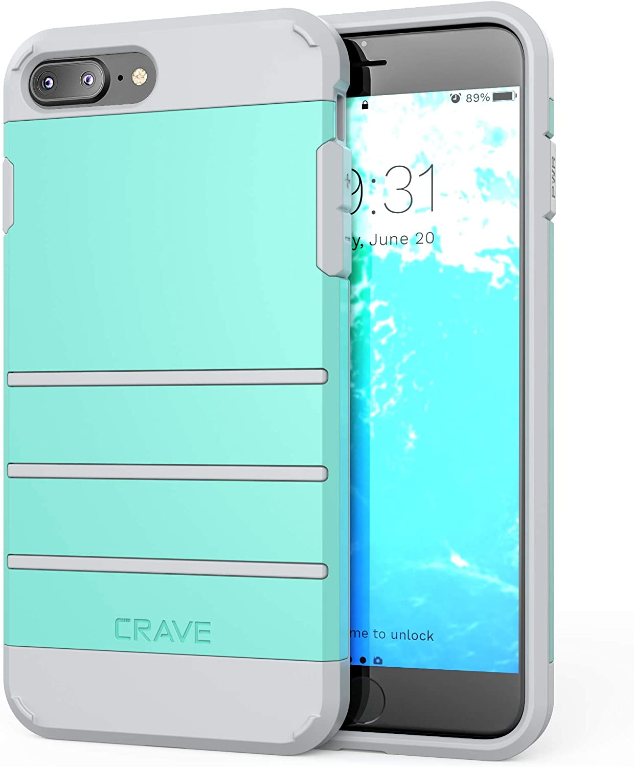 Crave iPhone 8 Plus Case, iPhone 7 Plus Case, Strong Guard Protection Series Case for Apple iPhone 8/7 Plus (5.5 Inch) - Mint/Grey