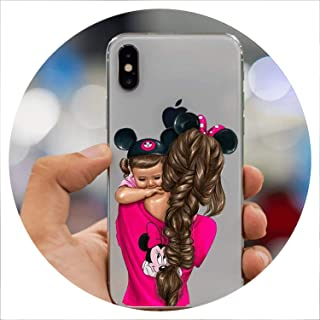 Lovely Boys Girls Mom Baby Princess Transparent Phone Case for iPhone 5 5S SE X XS XR Max 6 6S 7 8 Plus Soft TPU Back Cover,Style 6,for iPhone 6 6S