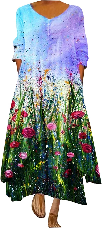 soyienma Summer Dresses for Women 2021,Womens Long Sleeve Dress Floral Loose Long Maxi Dress Bohemian Caftan Beach Dress