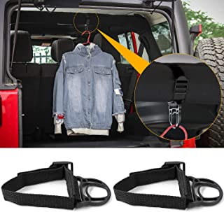 2PCS Roll Bar Coat Hanger Clothes Hook for Jeep Wrangler CJ YJ TJ LJ JK JKU JL JLU JT Sports Sahara Freedom Rubicon & Unlimited X 2/4 door (Black)