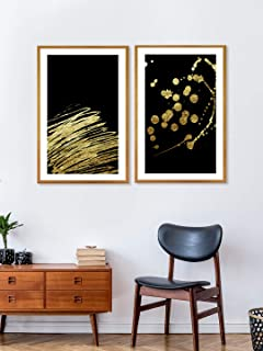 999Store Fiber panel paintings for living room with frame wall frames painting Frames Canvas Painting black lines and dots...