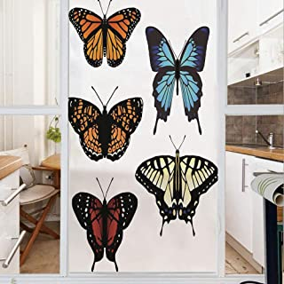Decorative Window Film,No Glue Frosted Privacy Film,Stained Glass Door Film,Five Different Butterflies Colorful Monarch Lady Insect Wings Spring Decorative,for Home & Office,23.6In. by 35.4In Multicol