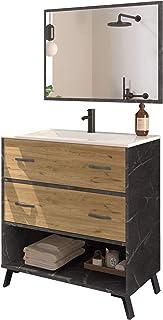 Mueble baño Moderno Combia Elegante imitación mármol con Espejo y Lavabo cerámica 81x47