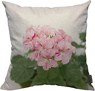 Mugod Geranium Plant Decorative Pillow Case Spotty Pink Flowers Mottled Blooming Green Leaf Throw Pillow Cover Home Decor Cotton Linen Square Cushion Cover for Couch Bed Sofa 24X24 Inch