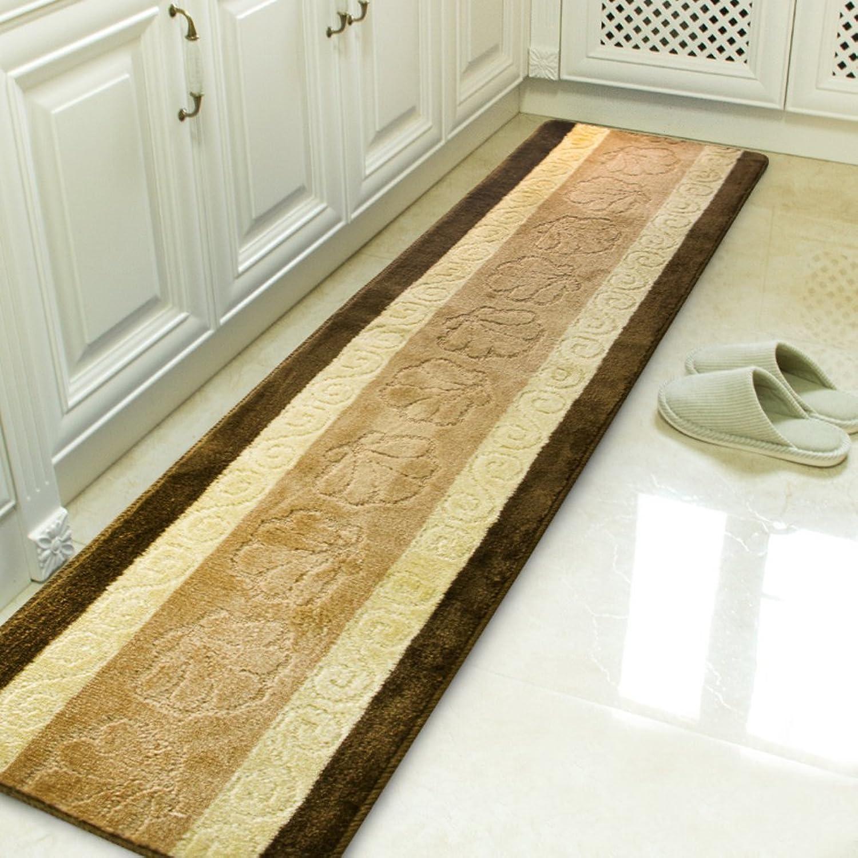 Long striped kitchen mat with dirt resistance [absorbent] Oil-proof Non-slip mat Indoor mats Full door mat Door mats-C 45x180cm(18x71inch)