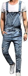 babao Jeans Bib Mens Denim Blue Dungarees Slim Stonewash Dungaree Overalls