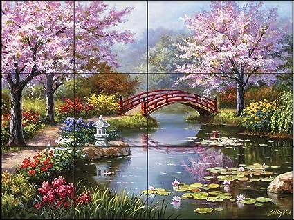 Fresque Murale En Carrelage Jardin Japonais Par Sung Kim Cuisine Credence Salle De Bains Douche Amazon Fr Bricolage