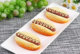 HTFGNC 3 PCS Fake Cake Bun Artificial Mini Hot Dog Bread Fake Food Model Photography for Home Kitchen Party Decoration