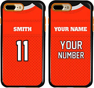 Custom Football Jersey Cases for iPhone 7 Plus / 8 Plus by Guard Dog – Personalized – Put Your Name and Number on a Rugged Hybrid Phone Case. Includes Guard Glass Screen Protector (Black/Orange)