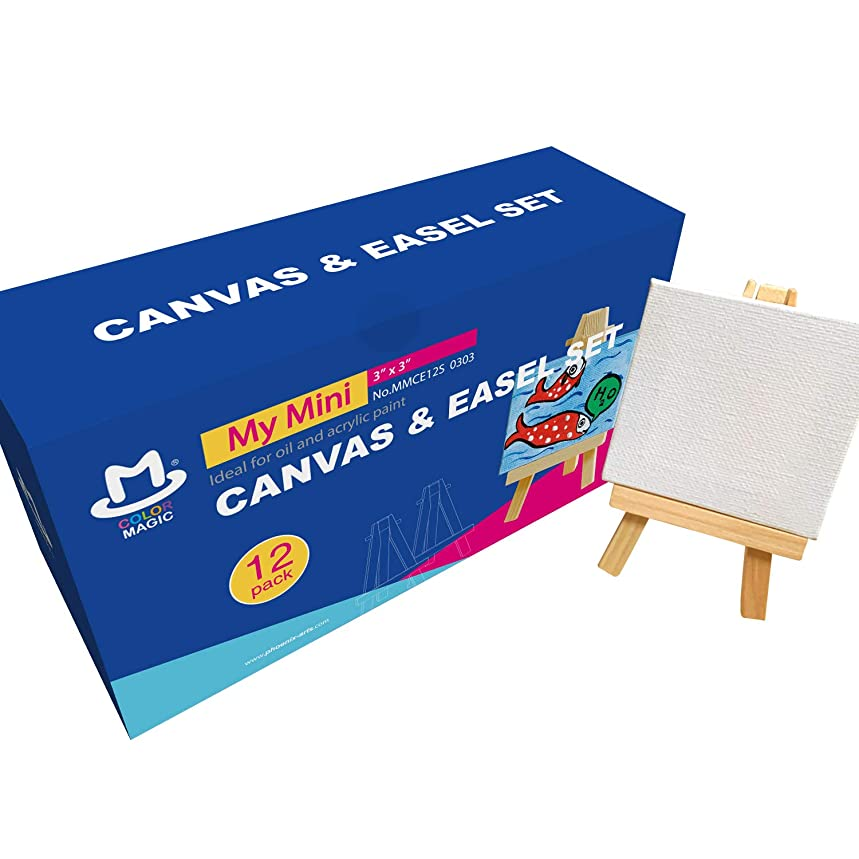 COLOR MAGIC Mini Stretched Canvas with Easel - 3x3 Inch/12 Pack - Mini Canvas and Easel Set, Best For Kids