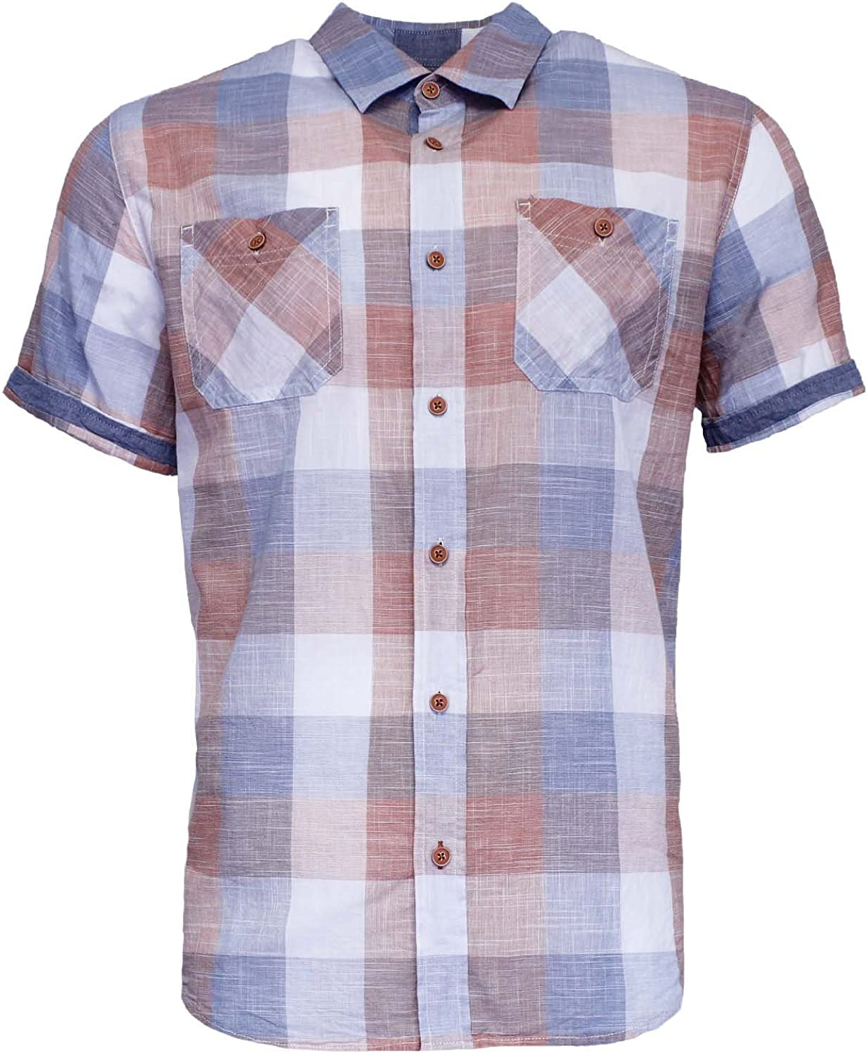 Mens Vintage Classic Woven Short Sleeve Button-Up Shirt (Small, Burnt Orange)