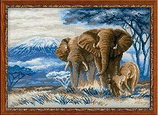 Elephants In The Savannah Counted Cross Stitch Kit-40cm x 11.