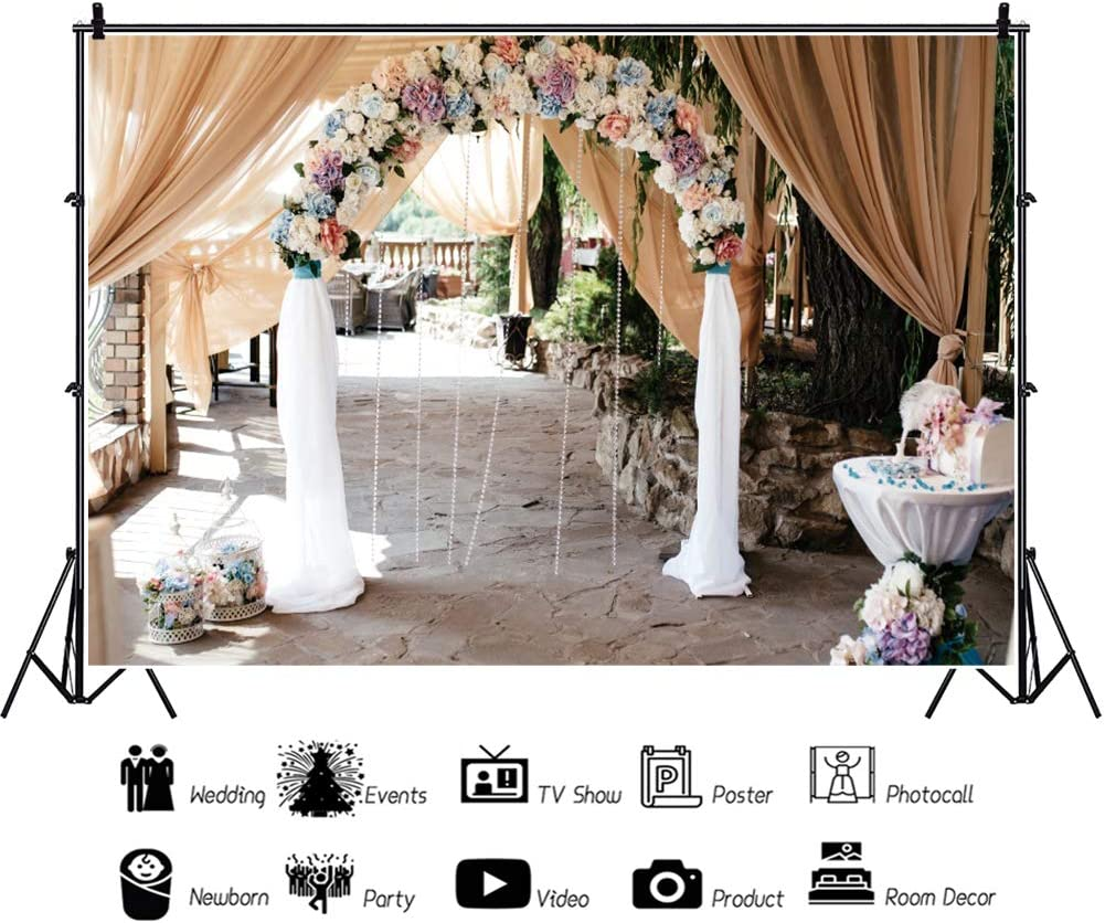 OERJU 12x10ft Bridal Shower Backdrop Curtain Floral Wedding Ceremony Background for Photography Lover Engagement Party Couples Proposal Prom Decor Rustic Theme Birthday Girls Photo Studio Props
