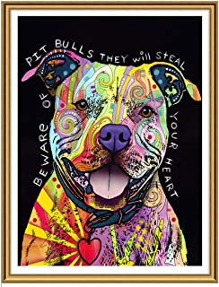 Yomiie 5D Diamond Painting Art Colorful Dog Full Drill by Number Kits for Kids Adults, Puppy Paint with Diamonds Oil Pit Bull DIY Craft Arts Decorations (12x16inch)