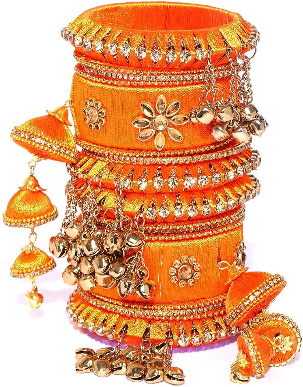 Indian Fashionable Silk Thread Party Wear Bangle For Women Bracelet /Kada Set