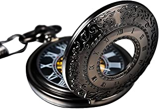 Carrie Hughes Steampunk Skeleton Mechanical Pocket Watch With Chain