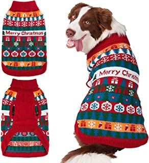 Mihachi Christmas Dog Sweater - Winter Clothes with Colorful Snowflake Patterns Soft Knit Keep Warm