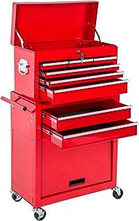 TecTake Carro de herramientas con ruedas | cajones amplios | Caja accesoria móvil | -disponible en diferentes colores- (Rojo | No. 402802)