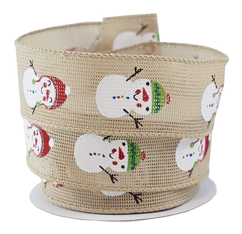Frosty Snowman Holiday Fabric Wired Ribbon #9-1.5