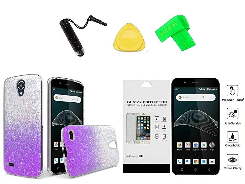 Alcatel Prepaid AT&T AXIA QS5509A / Cricket Vision 2-Tone TPU Flexible Skin Cover Phone Case + Tempered Glass + Extreme Band + Stylus Pen + Pry Tool (Purple)