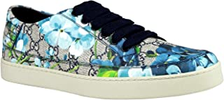 Men's Bloom Flower Print Blue Supreme GG Canvas Sneaker Shoes 407343 8470