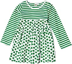 Carrolls Irish Gifts White and Green Striped Kids Dress With Green Shamrock Pattern