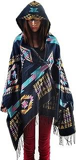 Aztec Print Bohemian Blanket Poncho Cape Shawl Tassel with Hoodie Cloak