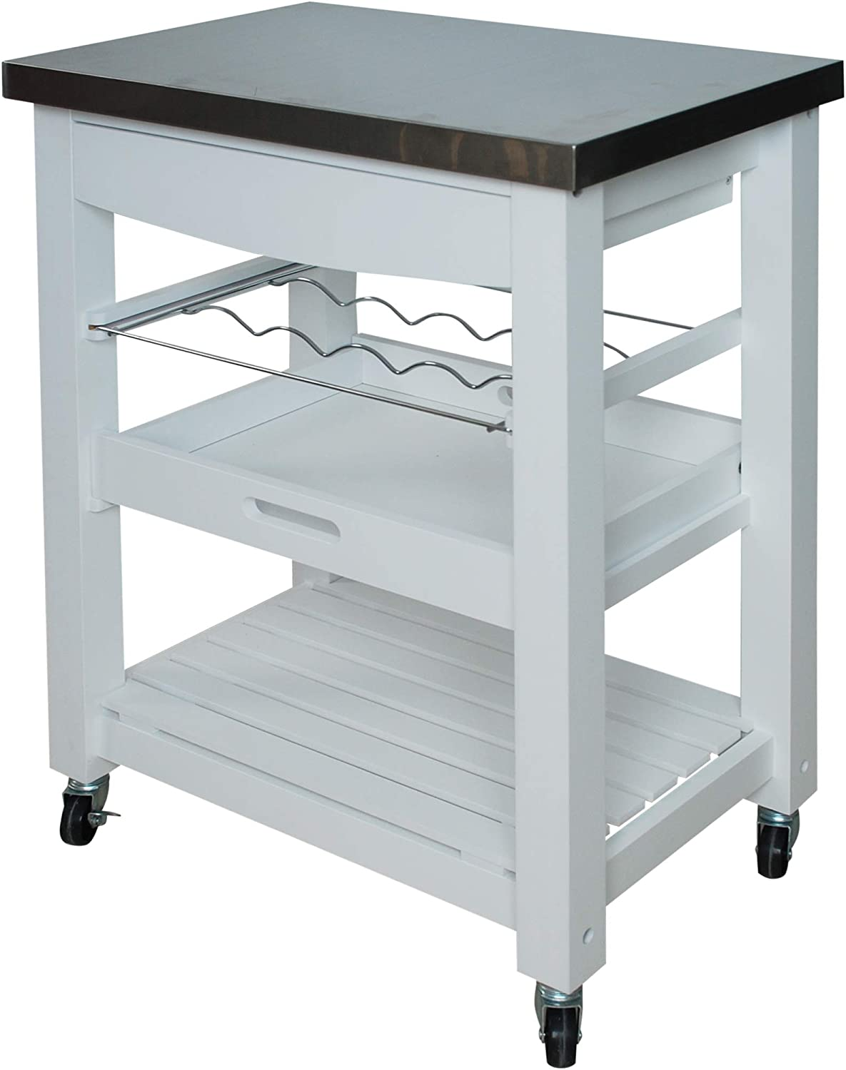 Home Basics Stainless Steel Top Compact Rolling Kitchen Cart Trolley, White