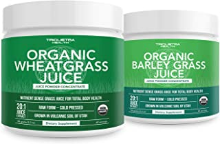Organic Wheatgrass Juice Powder Plus Organic Barley Grass Juice Powder - USA Grown in Volcanic Utah Soil, Both Raw Form & ...