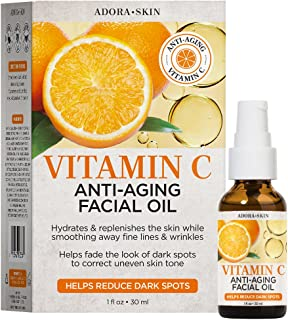 ADORASKIN VITAMIN C ANTI-AGING FACIAL OIL. HYDRATES & REPLENISHES, TARGETS WRINKLES AND DISCOLORATION. 1 FLOZ