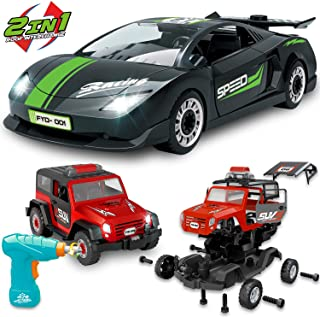 KKONES Take Apart Racing Car(2 in 1) with Toy Drill Tool, Assemble Car Construction Vehicle Toy, DIY Assembly Car Toy with Realistic Lights & Sounds for Boys and Girls Age 2 3 4 5 6