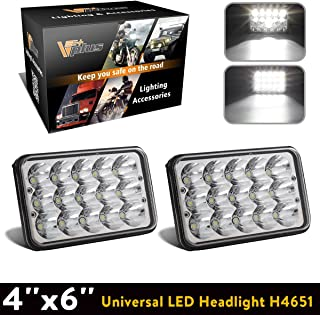 Partsam 4x6 6x4 inch LED Headlights Rectangular Sealed Beam Headlamp H4651 H4652 H4656 H4666 H6545 H4 Socket Hi/Lo Beam Compatible with Peterbilt 379, Kenworth W900, Chevy K5 K10 K20 W3500