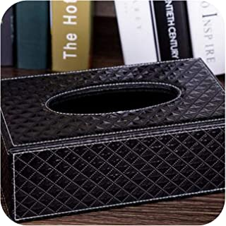 Wooden Structure Small Size PU ltather Napkin Holder Wood Tissue Box Tissue Cover Tissue Paper Holder PZJH017,Dia Black Large Size