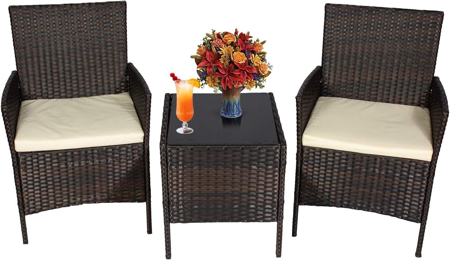 Detroit Mall HSQQ Outdoor Patio Furniture Sets PE Sm trust Wicker Rattan Set Bistro