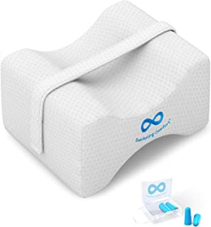 Everlasting Comfort Pure Memory Foam Knee Pillow with Adjustable and Removable Strap - Ear Plugs Included - Leg Pillow for Sleeping