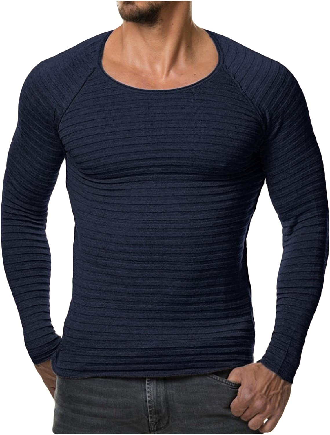 newrong Mens Slim Fit Round Neck Sweater Long Sleeve Pullover