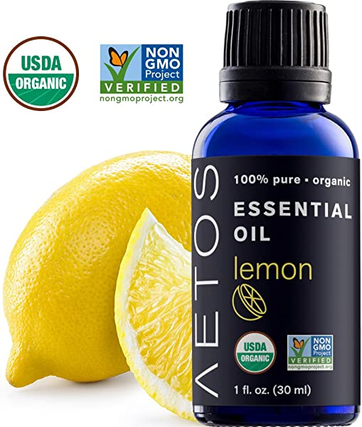 Aetos Organic Lemon Oil USDA Certified Organic Essential Oils Non GMO 100 Pure Natural Therapeutic Grade Essential Oil Best Aromatherapy Scented Oils For Home Office Personal Oil Use 1 Oz
