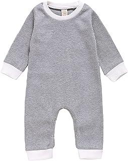 الوليد الصلبة اللون رومبير الرضع كم طويل قطعة واحدة playsuits طفل الفتيات تقليم ribbed بذلة (Color : Gray, Kid Size : 9M)