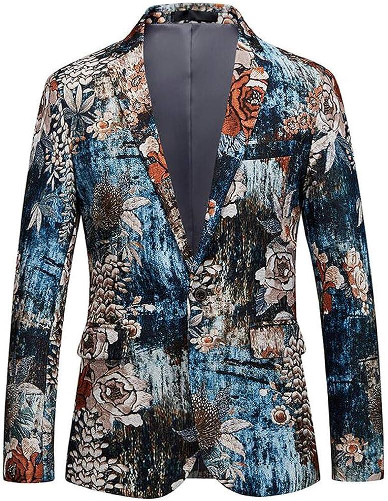 Mens Fashion Floral Printed Suit Jacket Slim Fit Sport Coat Blazers