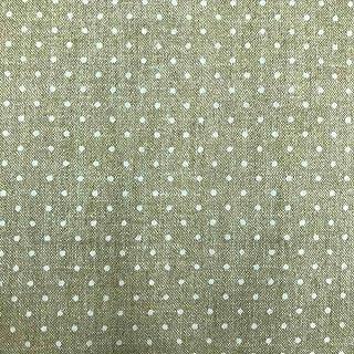 Kt KILOtela Stoff aus geharztem Segeltuch, fleckenabweisend, 100 % Baumwolle, 100 cm Länge x 140 cm Breite, geometrisch, Tupfen, Beige, Weiß, 1 Meter