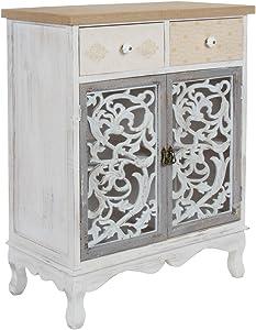 elbmöbel–Cómoda 89cm cajón Armario, Color Blanco Envejecido Madera Shabby Puerta Maciza Barroco