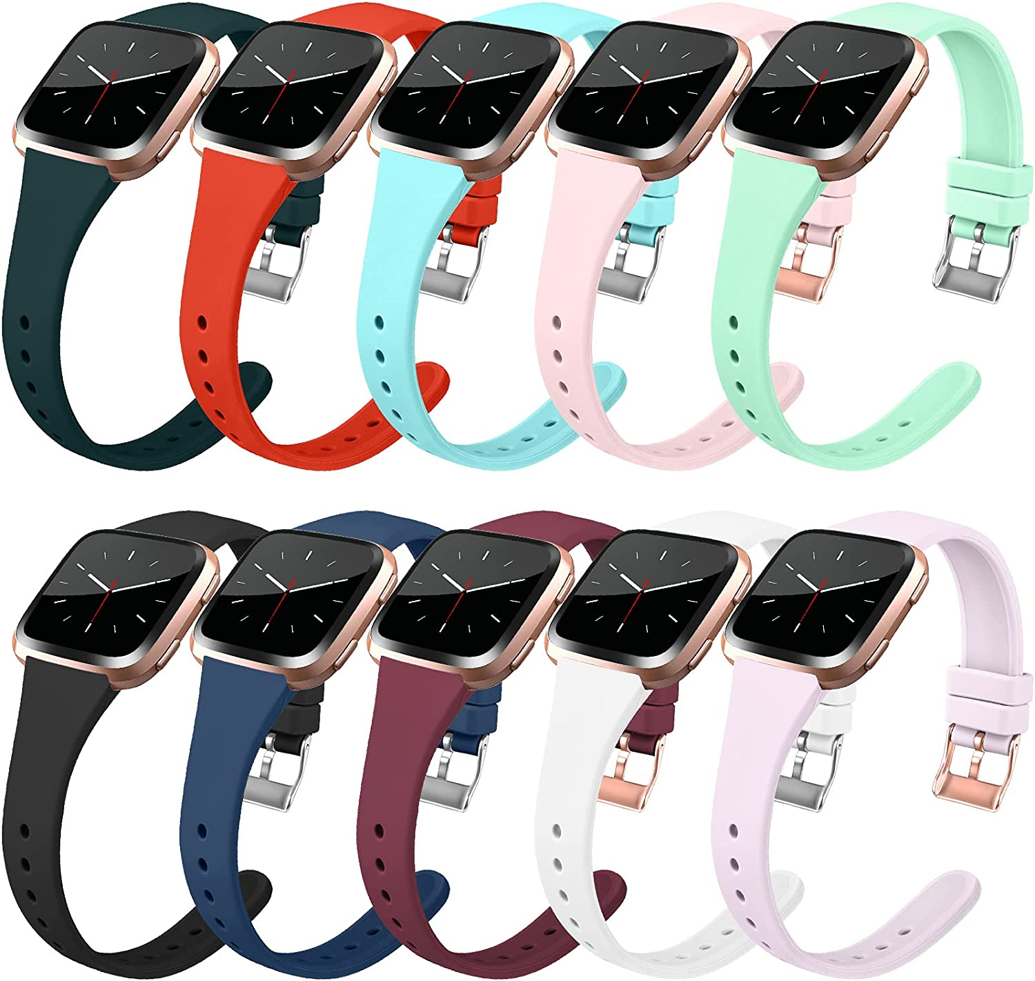 10 Pack Slim Bands Compatible with Fitbit Versa/Fitbit Versa 2/Fitbit Versa Lite for Women Men Soft Silicone Replacement Wristbands with Metal Buckle(Large, 10 Pack B)
