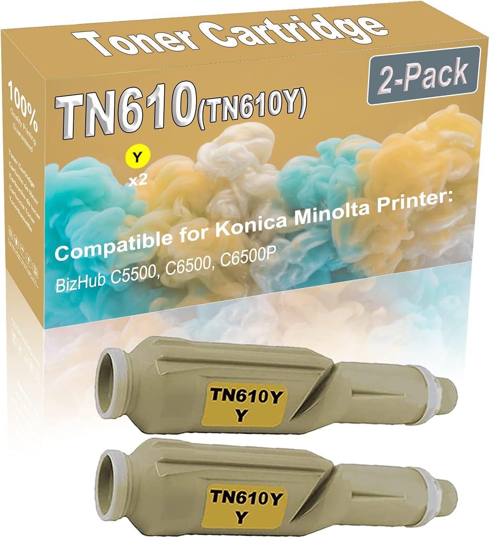 2-Pack (Yellow) Compatible BizHub C5500 C6500 Laser Toner Cartridge (High Capacity) Replacement for Konica Minolta TN610 (TN610Y) Printer Toner Cartridge