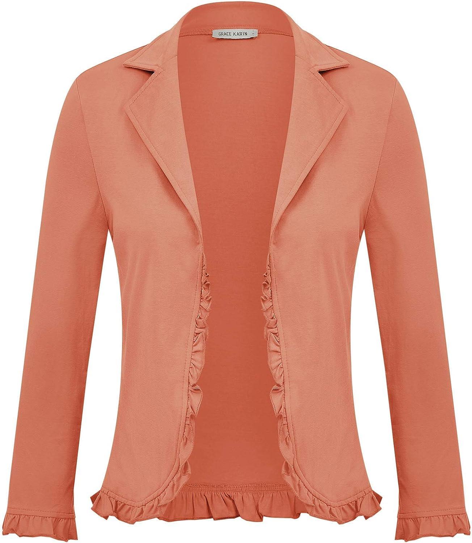 GRACE KARIN Women Business Casual Cropped Blazer Jacket Open Front Cotton Cardigan